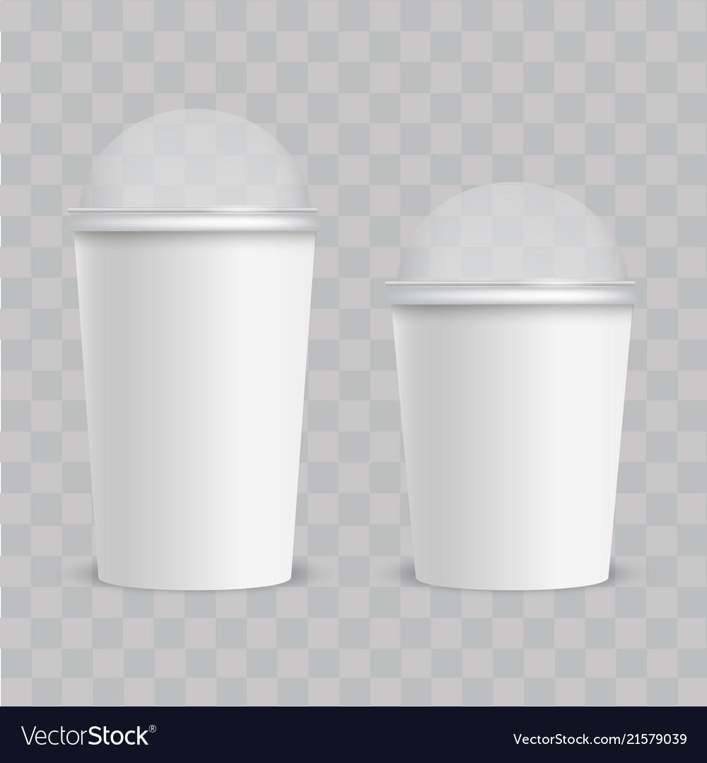 Realistic plastic cup with transparent cap