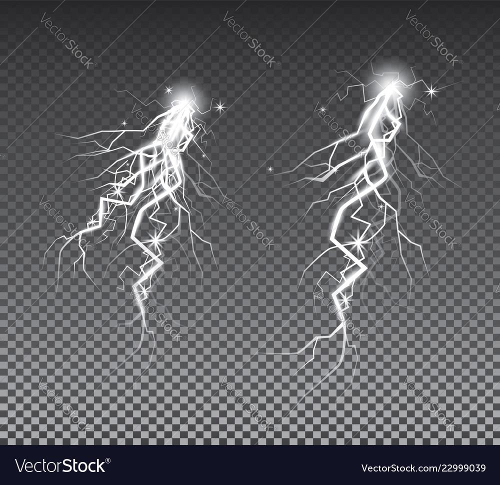 Set of lightnings thunder storm and lightnings