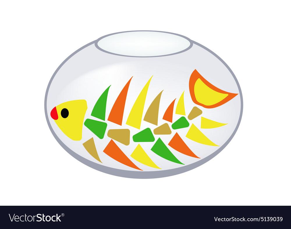Skeleton of a fish in an aquarium vector image