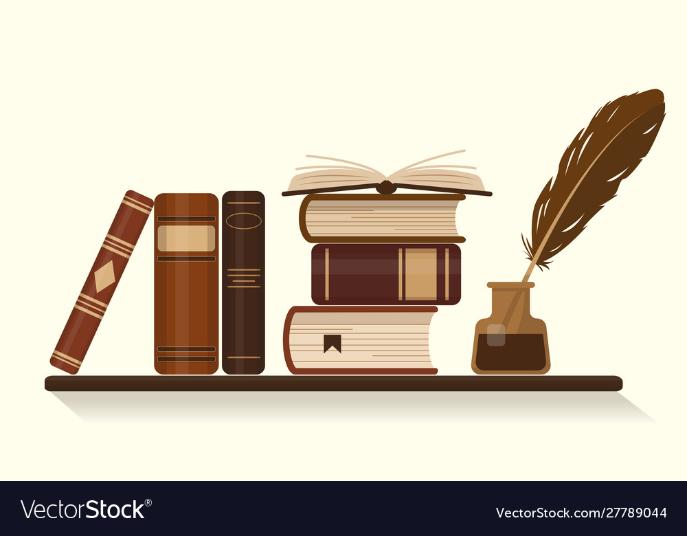 Bookshelf with old historical books