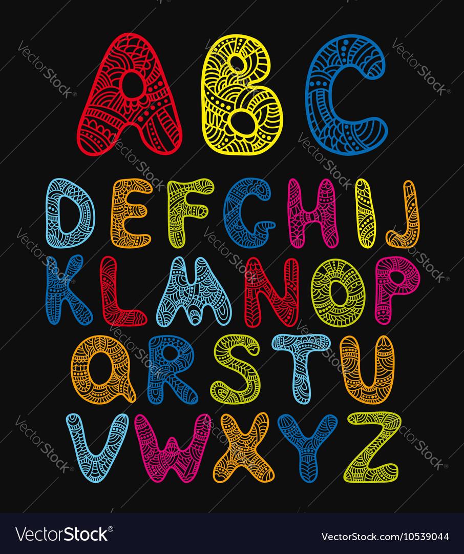 Doodle hand drawn color alphabet