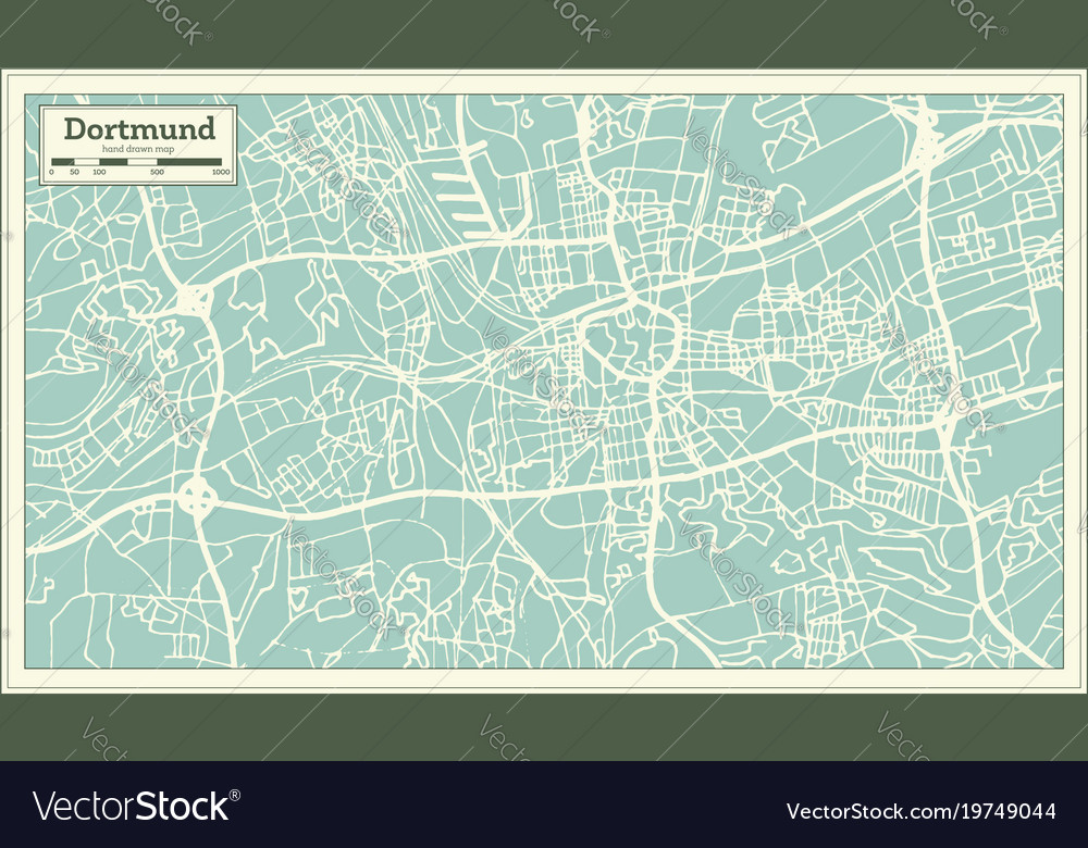dortmund germany city map in retro style outline vector image