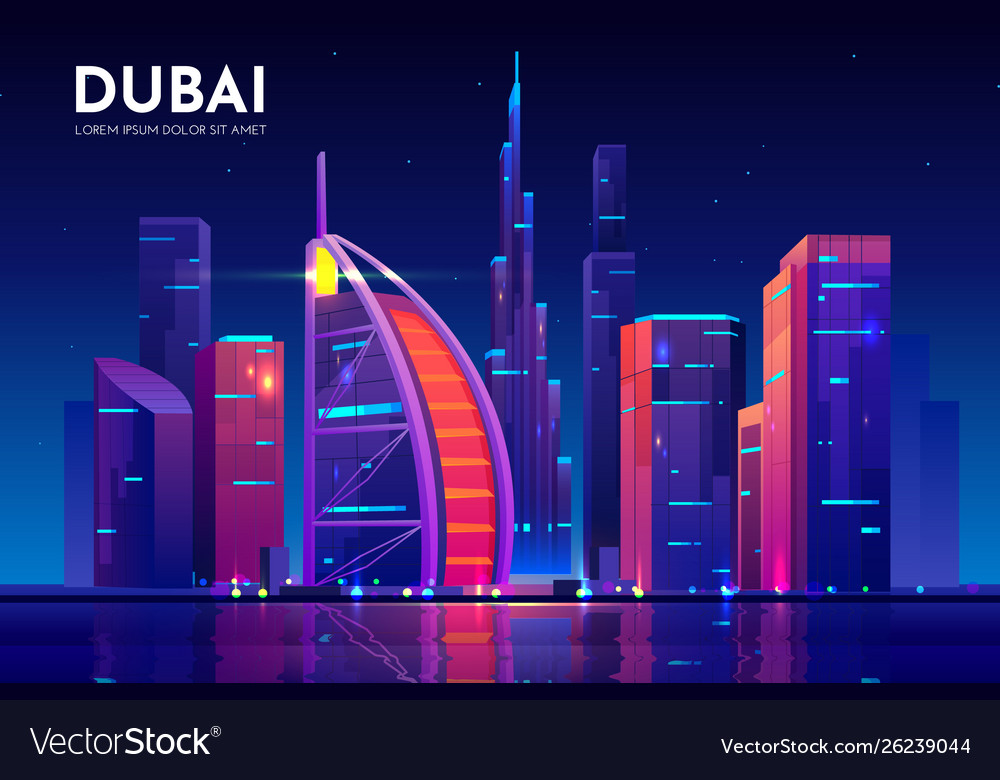 Dubai city with burj al arab hotel skyline uae