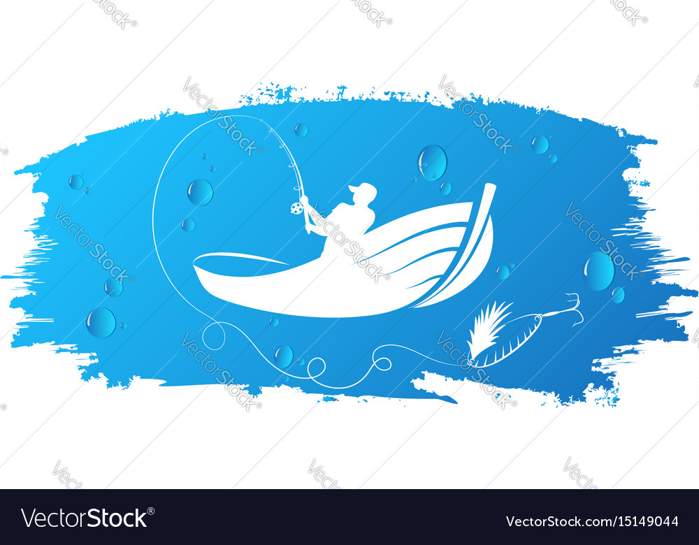 Fisherman in boat and water drops vector image