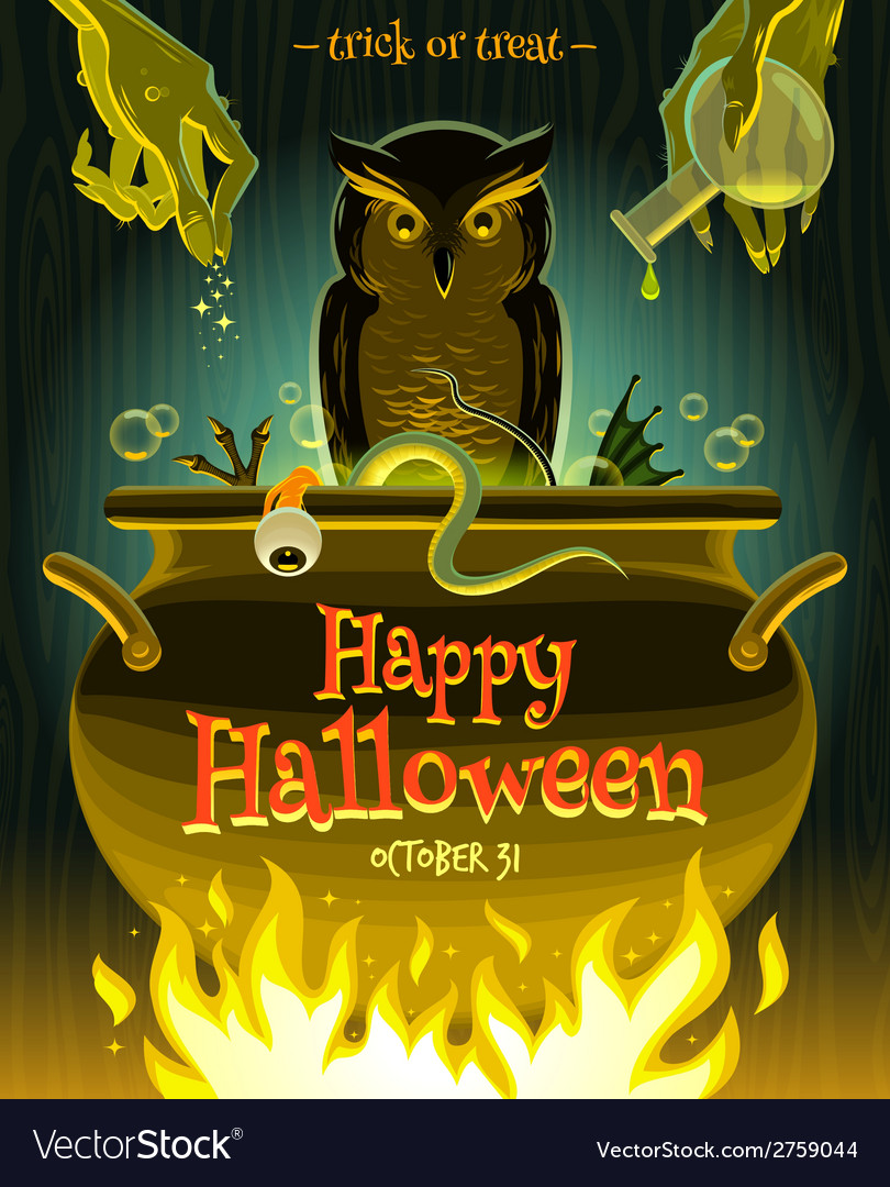 Halloween - witch cooks poison potion in cauldron vector