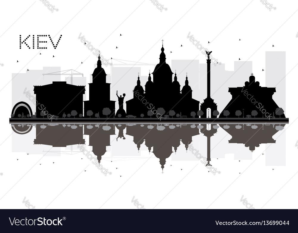 Kiev city skyline black and white silhouette with