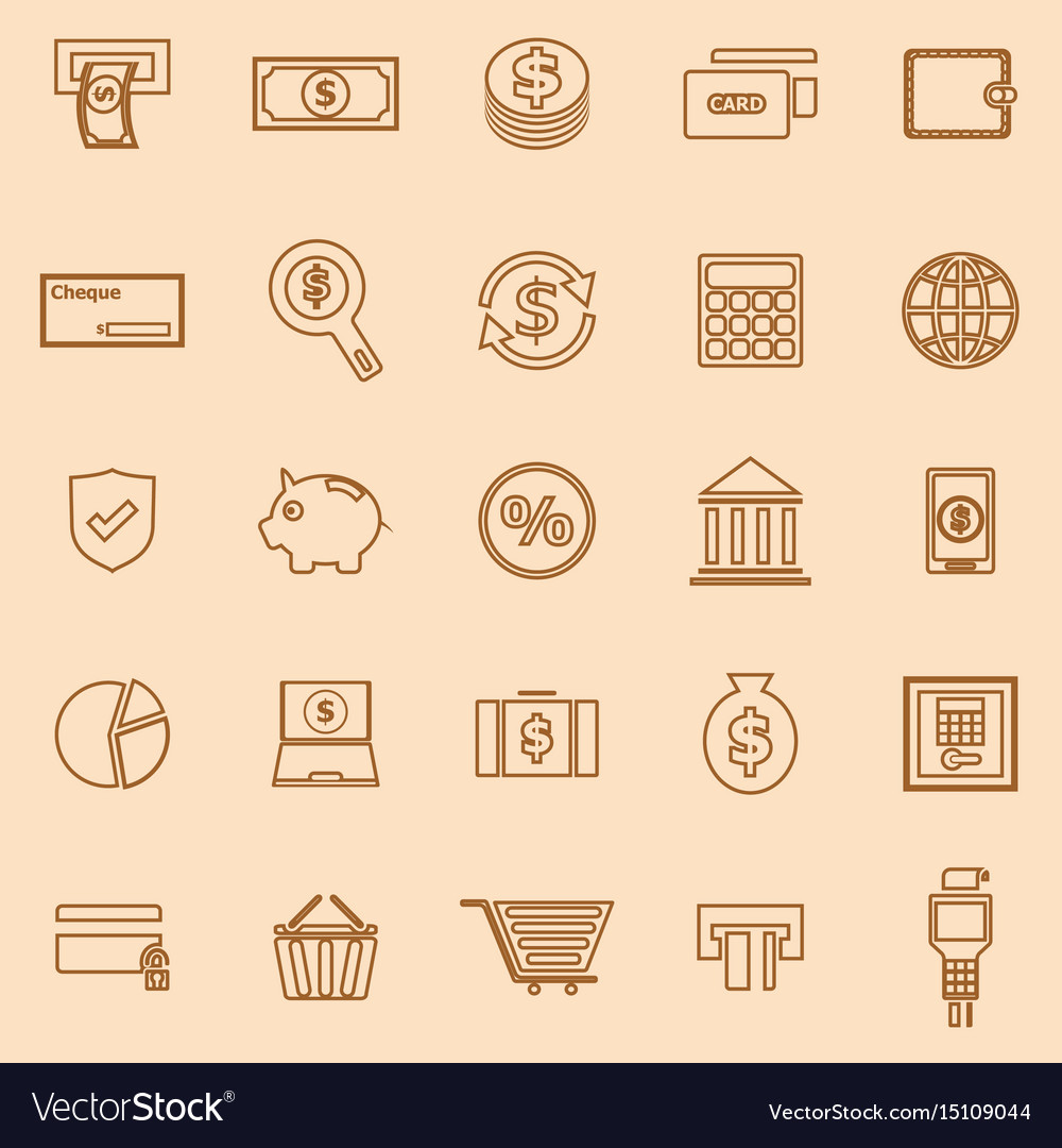 Payment line color icons on brown background vector image
