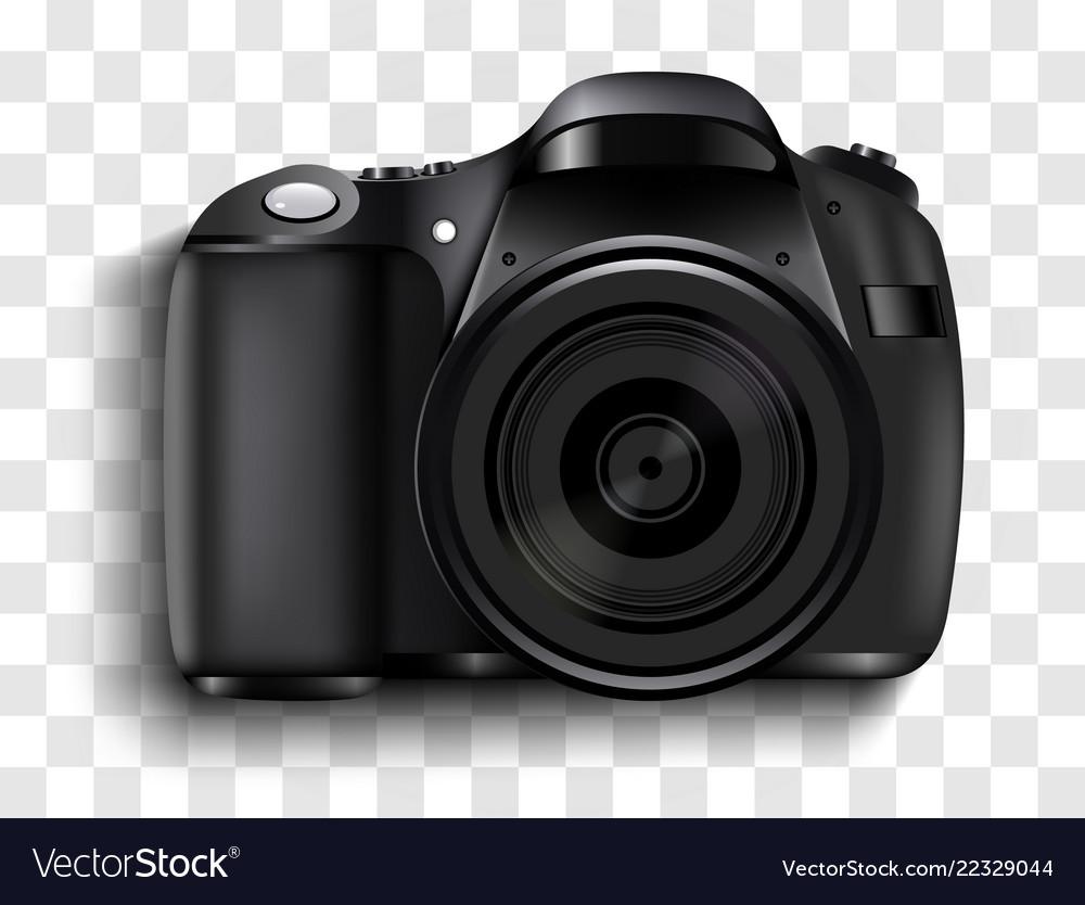 Realistic photo camera professional photo studio