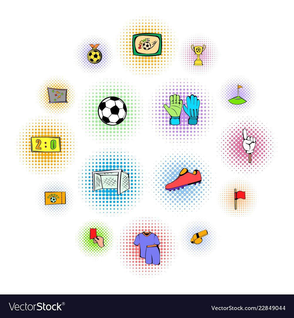 Soccer icons set comics style