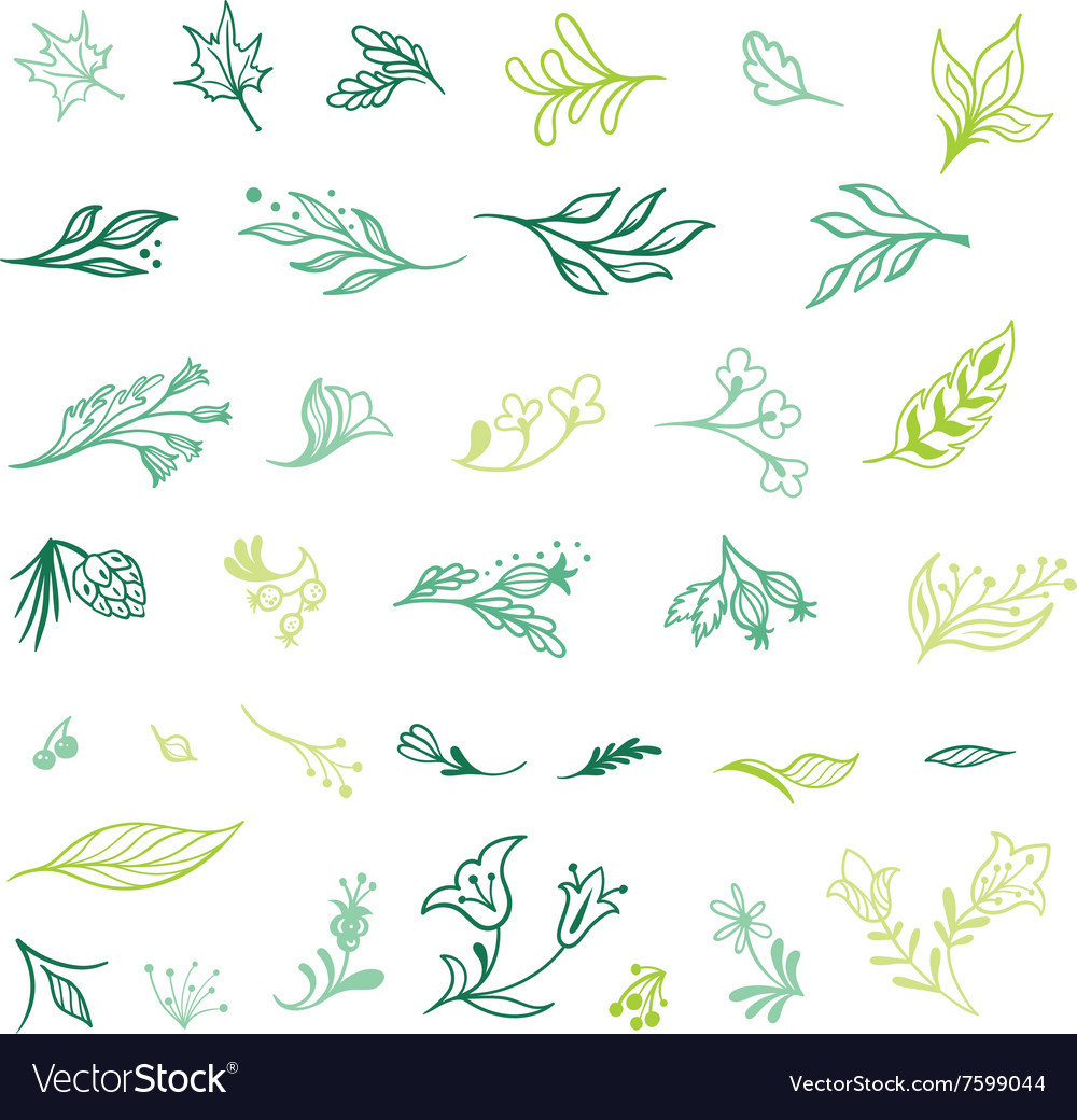 Spring Plants Sketch Icons