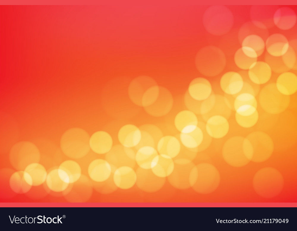 Abstract yellow bokeh blur on red background