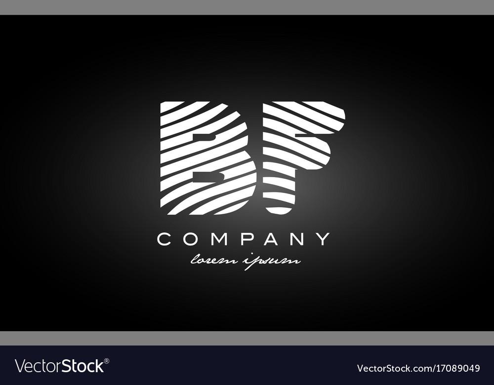 Bf B F Letter Alphabet Logo Black White Icon Vector Image