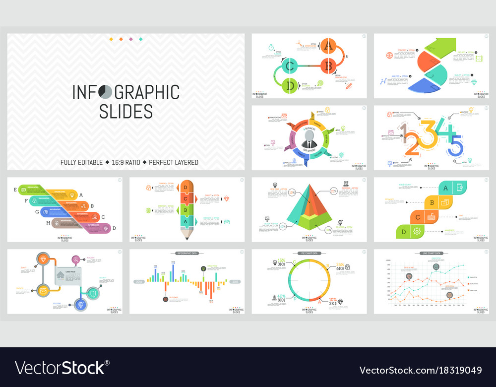 Big set of minimal infographic design templates vector image