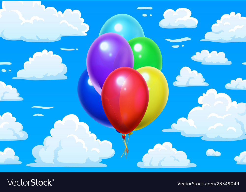 Bunch balloons in clouds cartoon blue cloudy sky