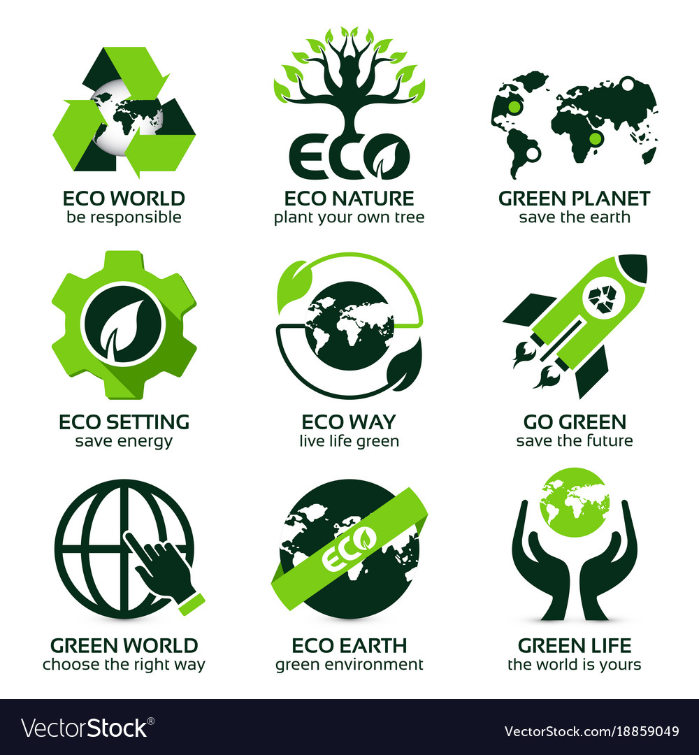 Flat icon set for green eco planet