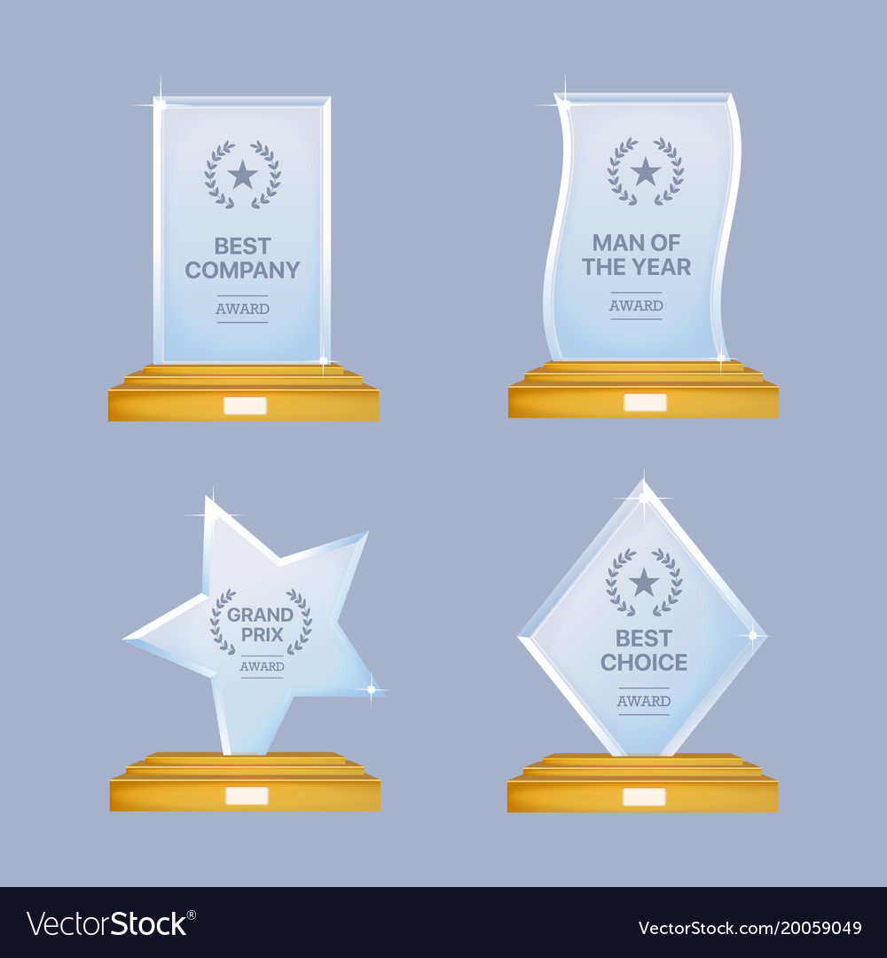 Glass trophy awards set glossy transparent vector image