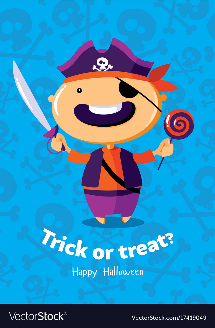 Halloween poster trick or treat with pirate on