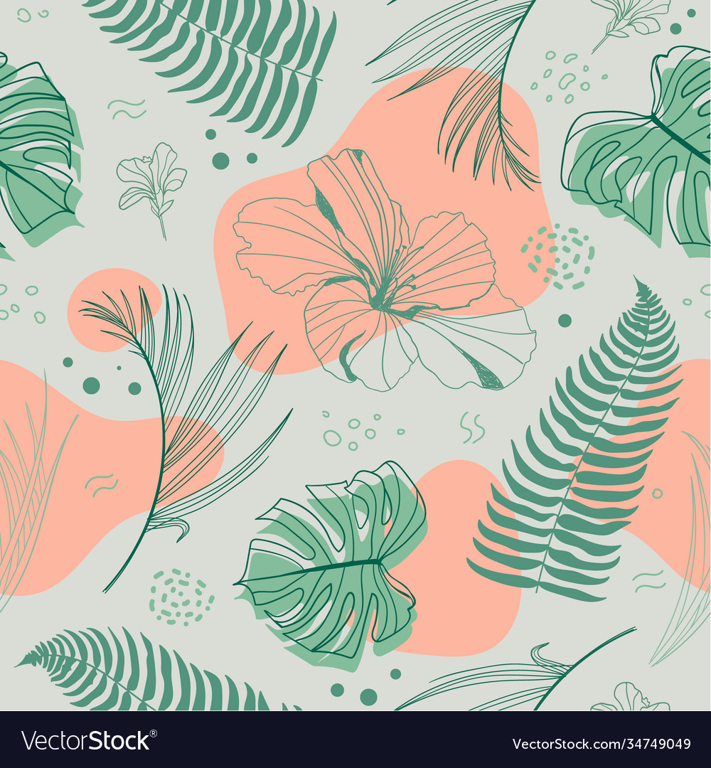 Hand drawn seamless tropical pattern with