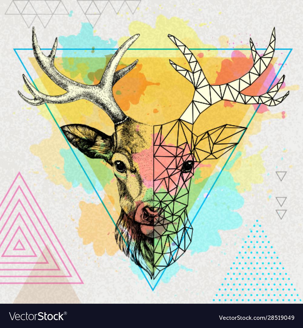 Hipster animal realistic and polygonal deer