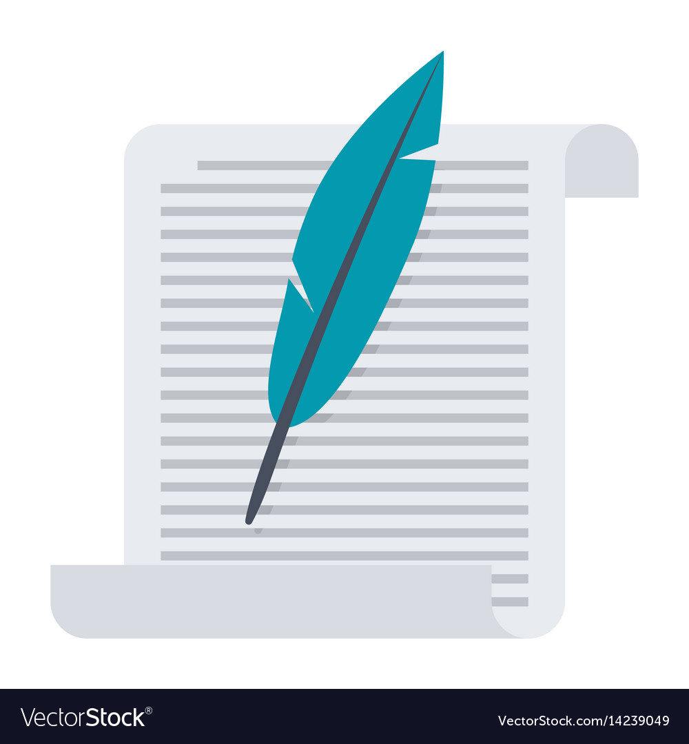Paper with feather vector image