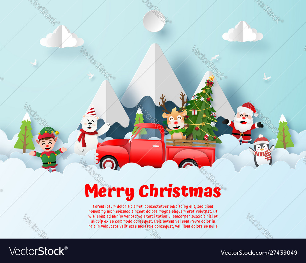 Postcard christmas party with red truck