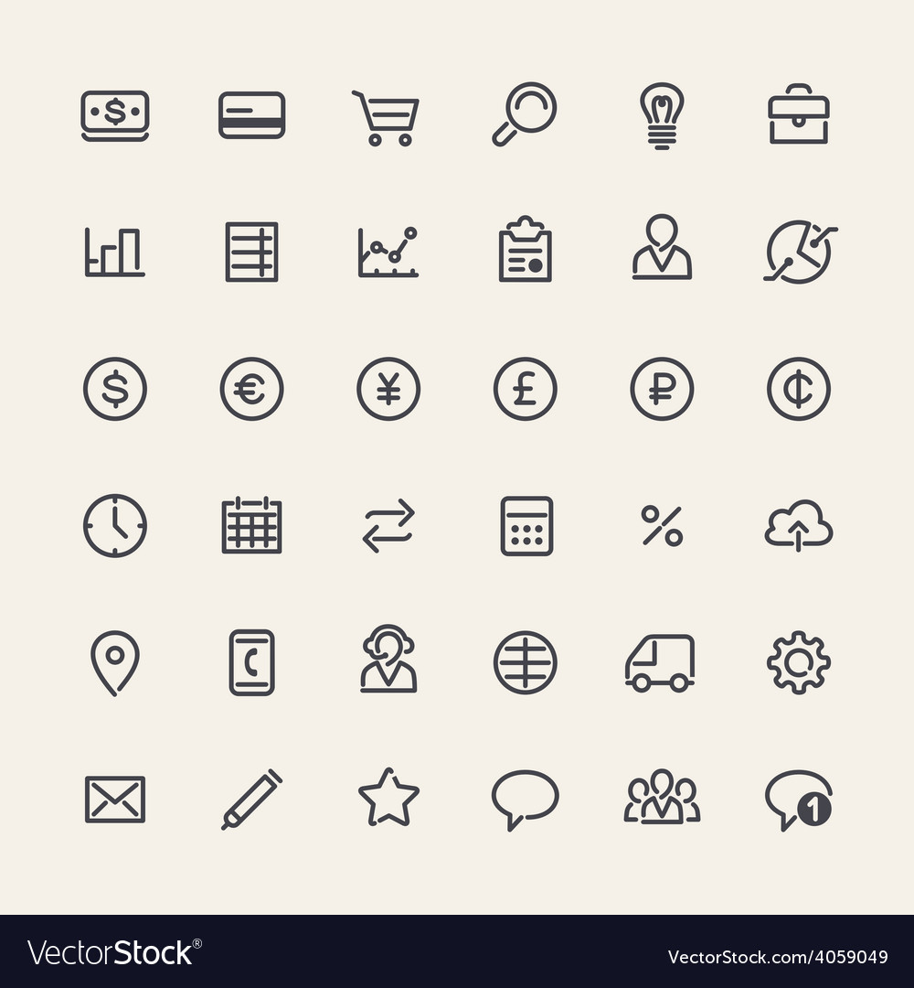 Set of Line Business Icons