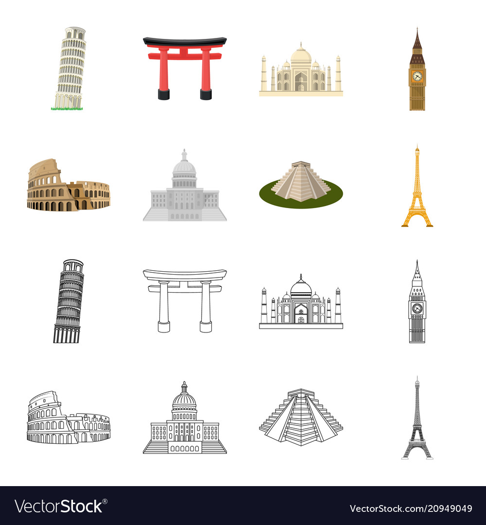 Sights of different countries cartoonoutline