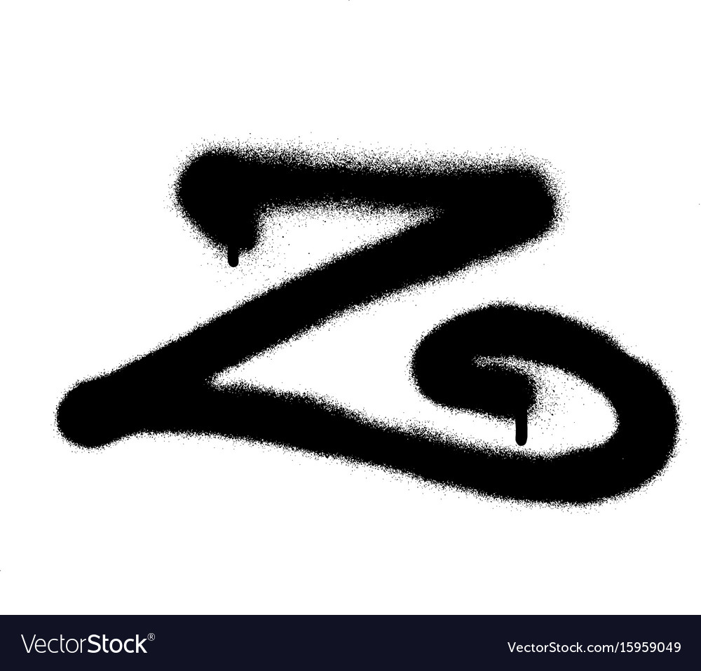 Sprayed curly z font graffiti with leak in black vector image