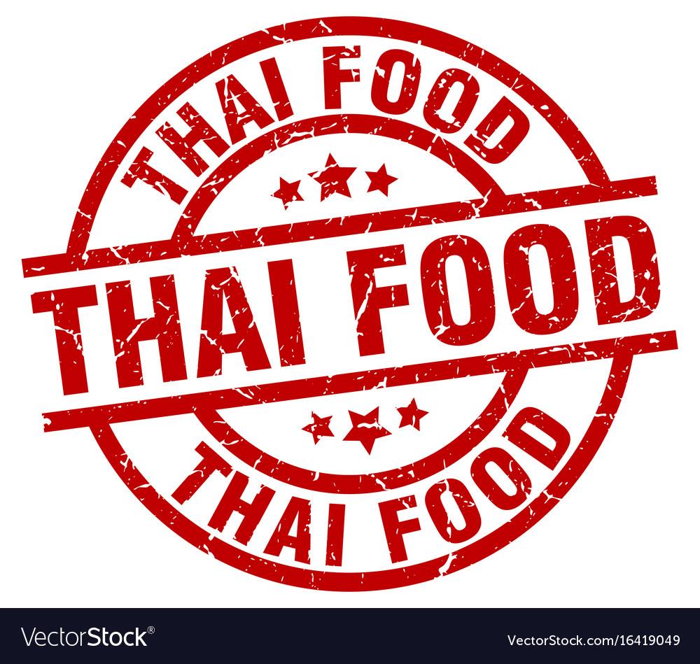 Thai food round red grunge stamp