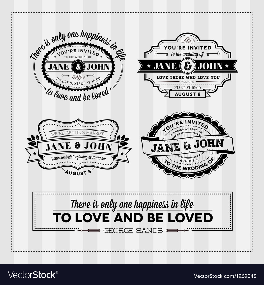 Wedding typography stamps