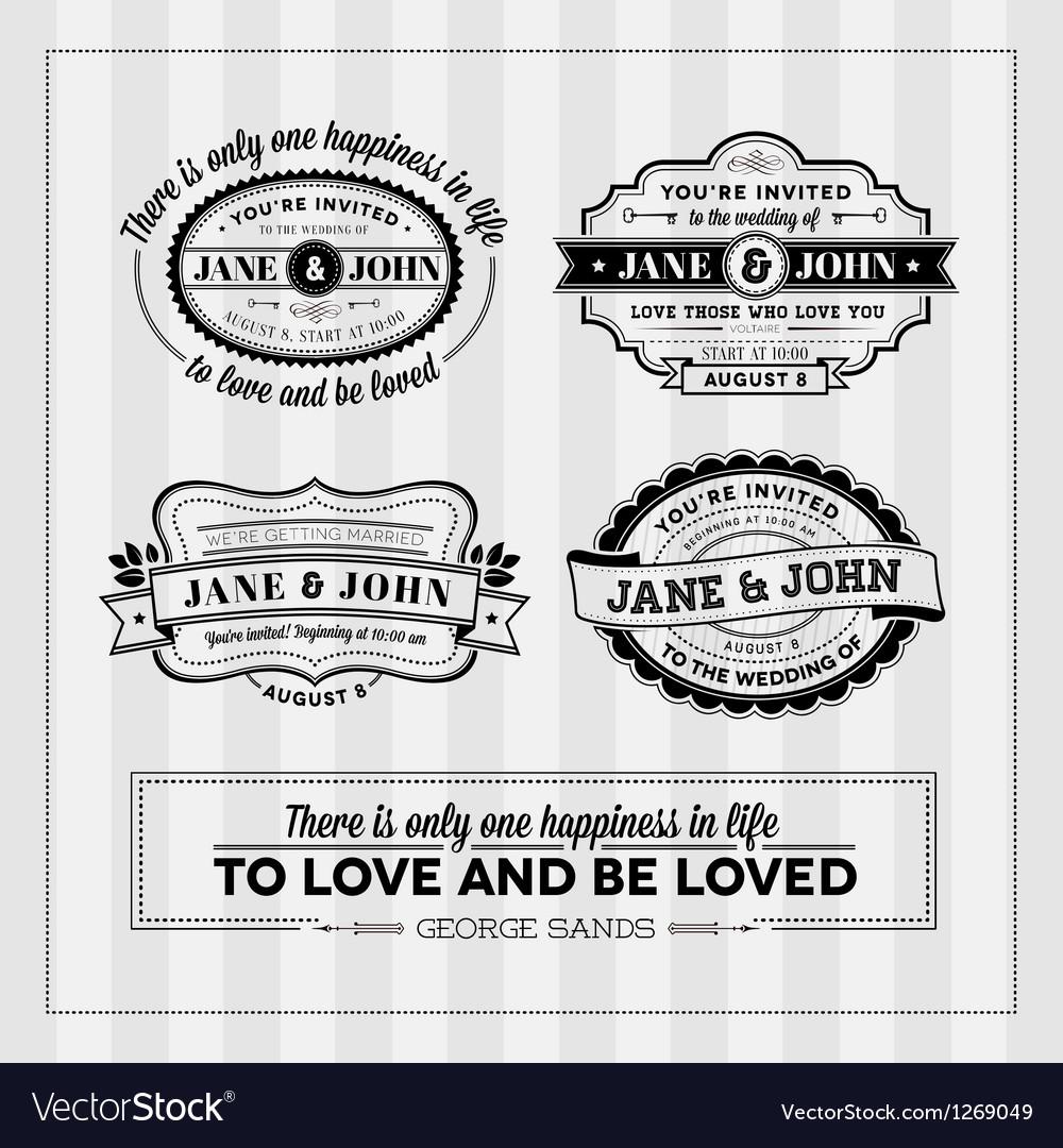 Wedding typography stamps vector image
