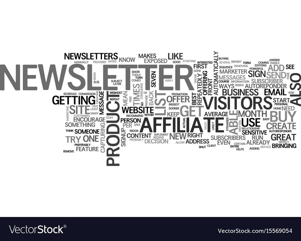 affiliate tip create a newsletter text word cloud vector image