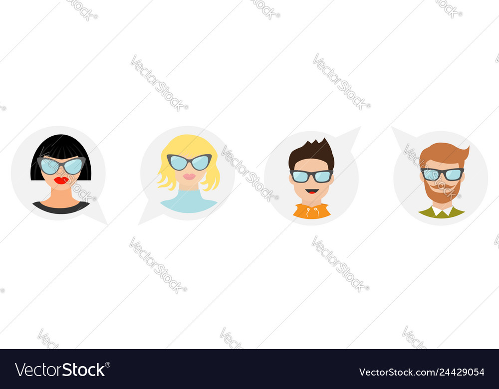 Avatar people icon set line cute cartoon