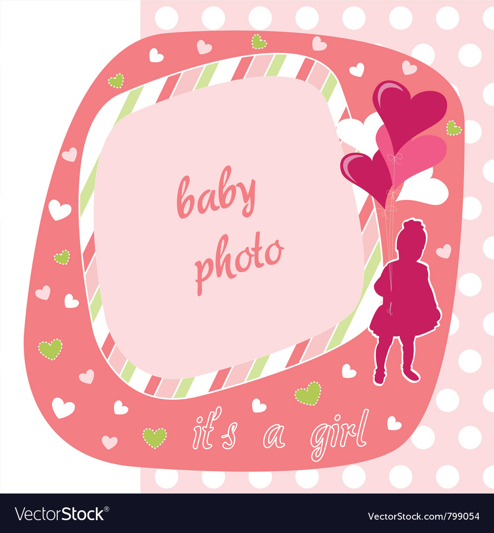 Baby girl photo frame Royalty Free Vector Image