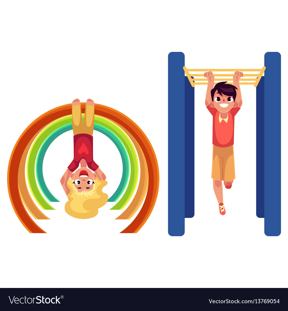 Boy and girl climbing hanging on monkey bars at