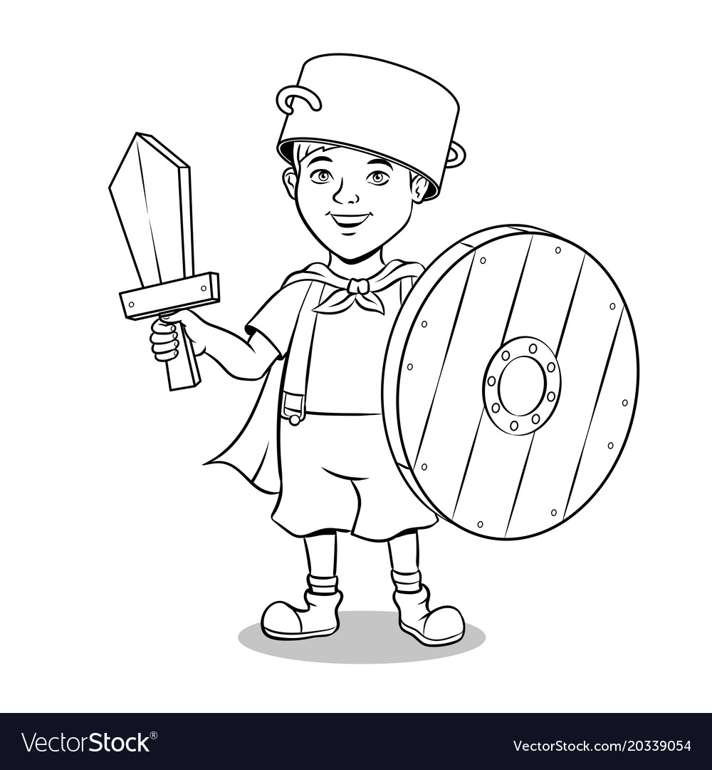 Child in wooden armor coloring