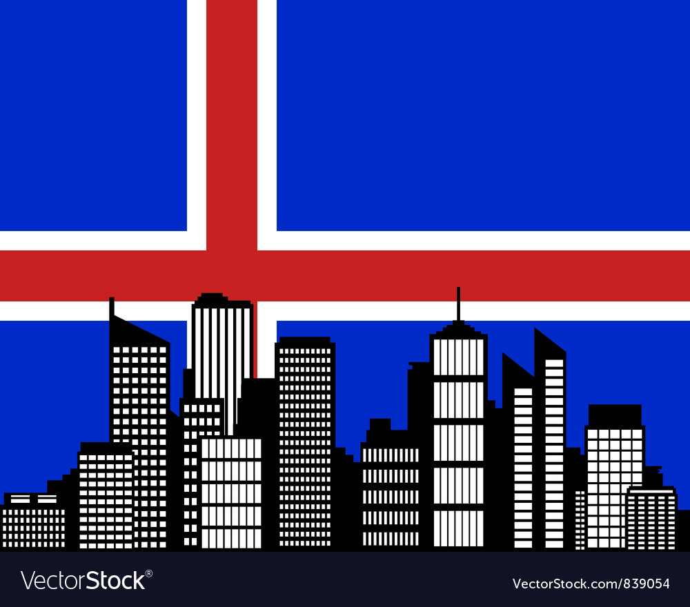 City and flag of Iceland vector image