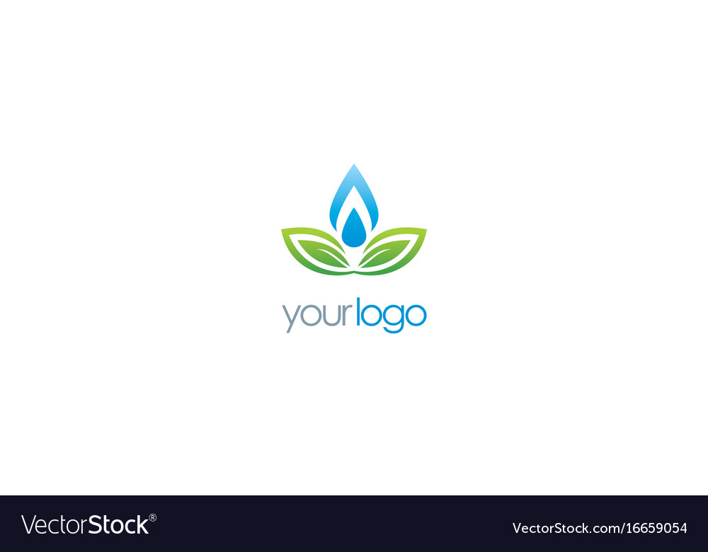 Ecology green leaf water drop logo