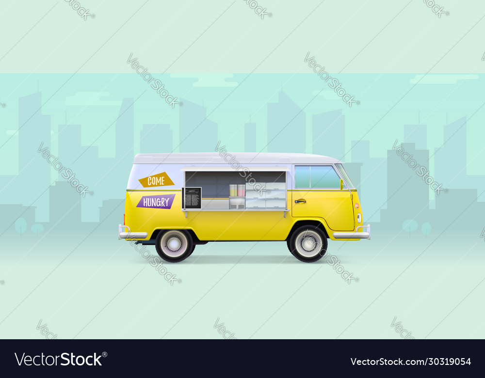 Fast food truck with equipment and bar counter