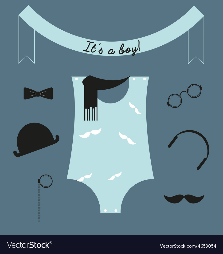 Its a boy baby boy card hipster baby shower vector image