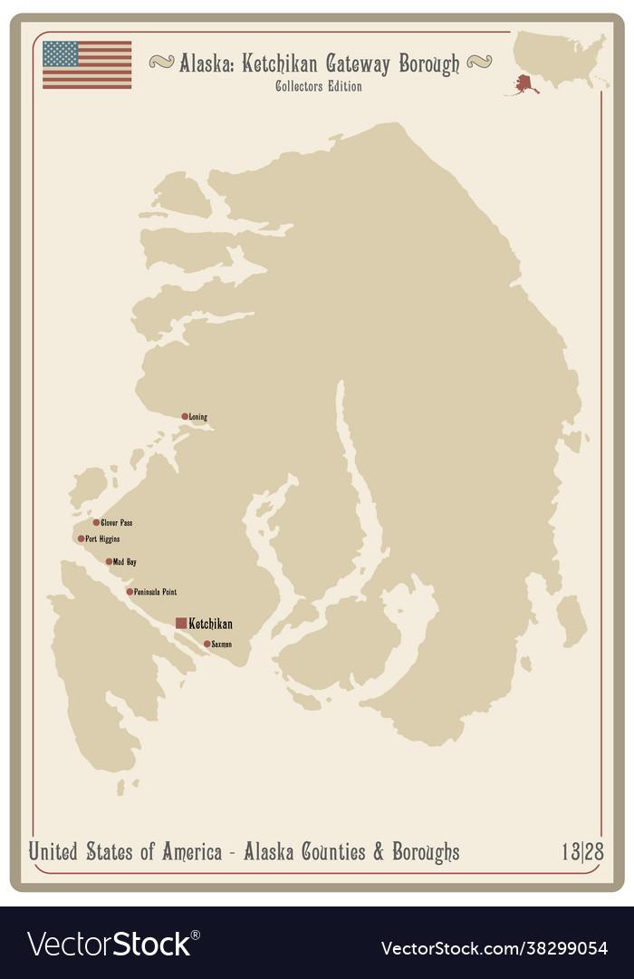 Map Ketchikan Gateway Borough In Alaska Royalty Free Vector