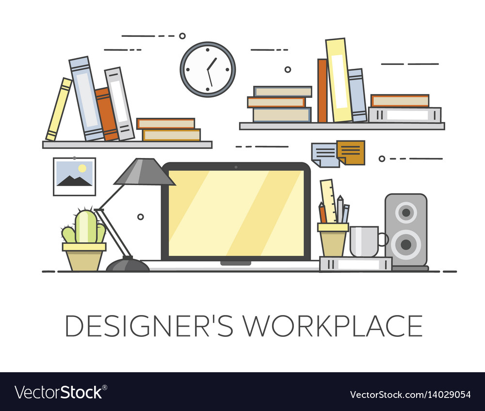 Modern workplace in office cozy home office