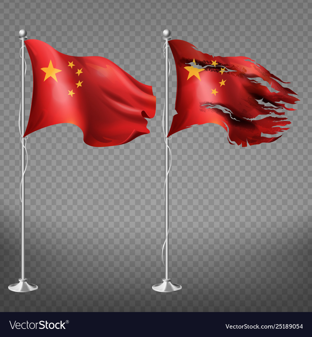 People s republic china new and damaged flags