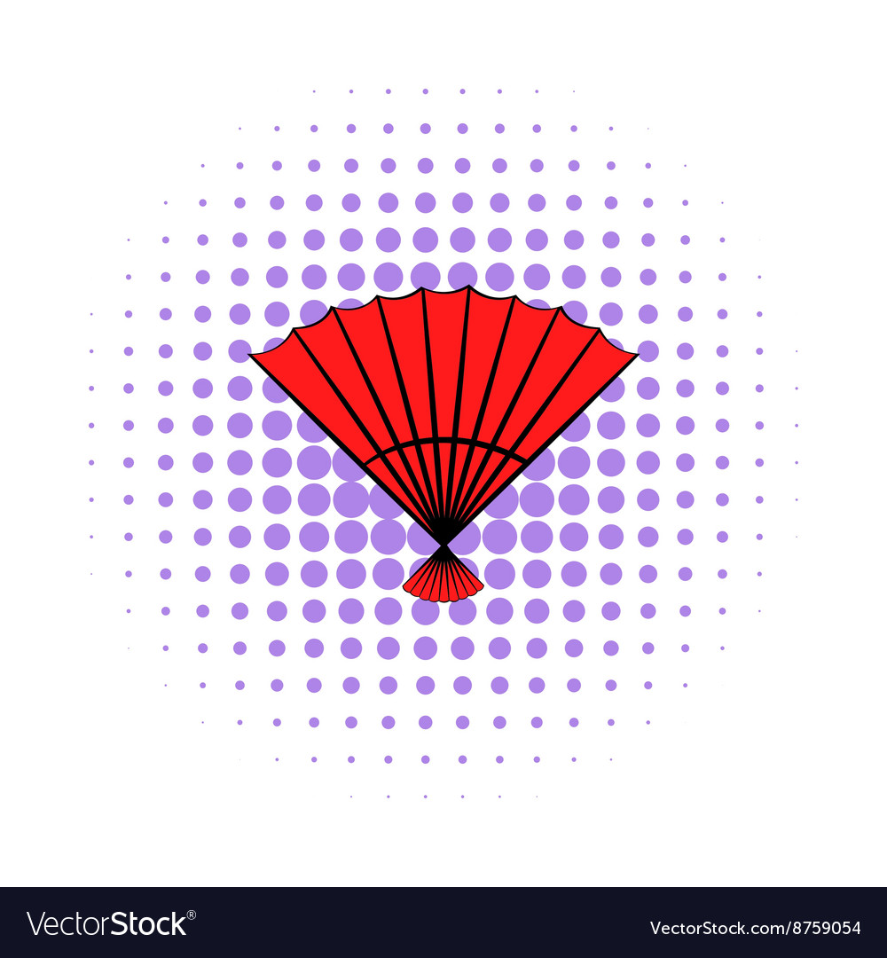 Red open hand fan icon comics style vector image