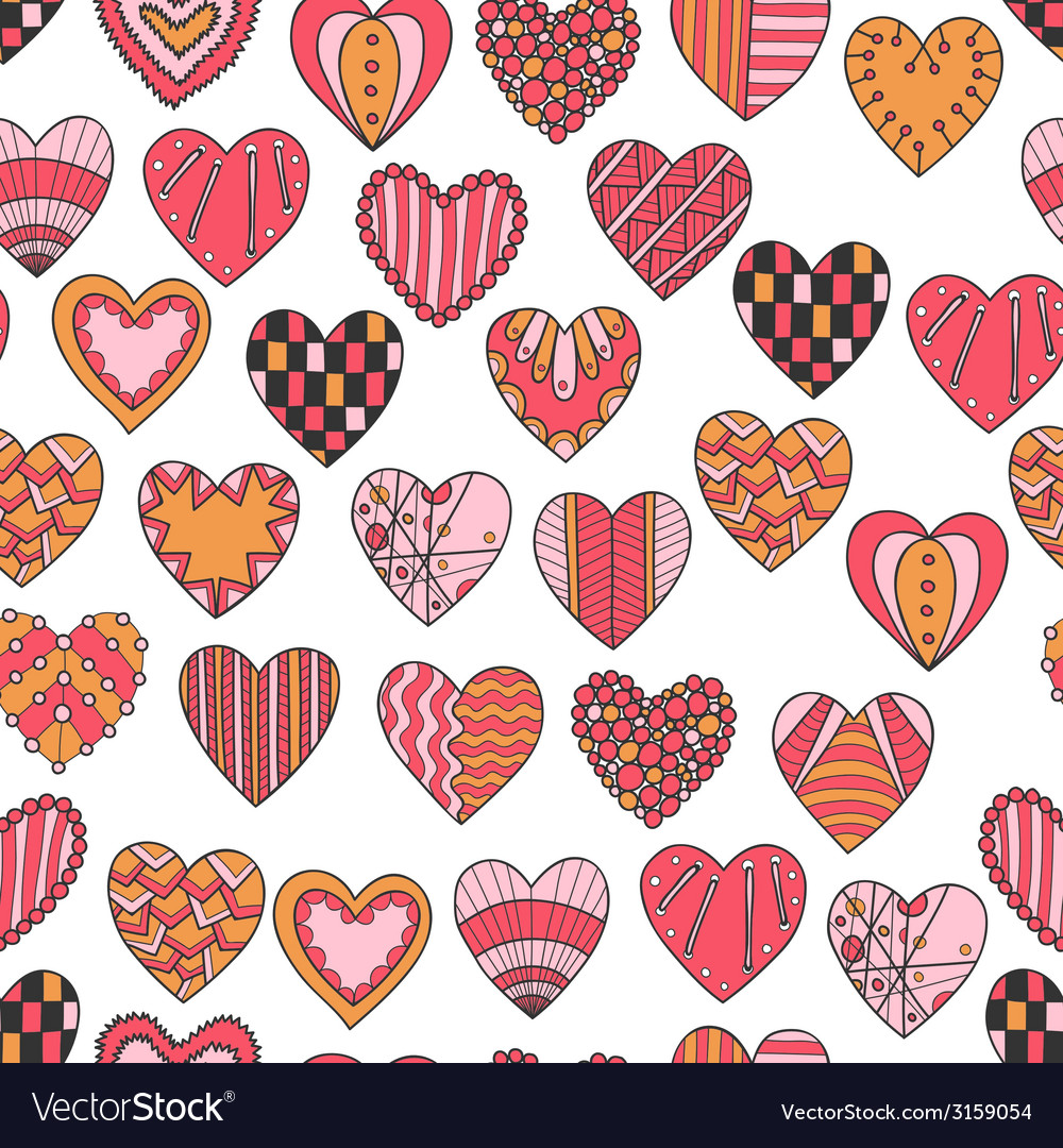Seamless pattern of hand drawn hearts