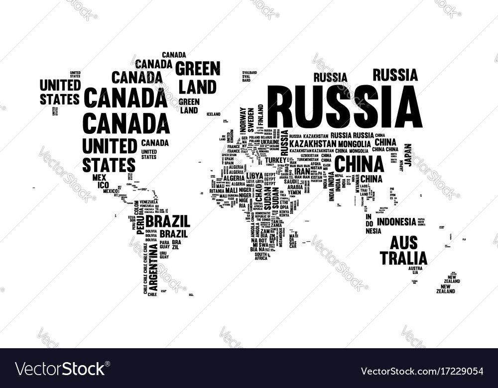 Text country name world map typography design vector image gumiabroncs Image collections