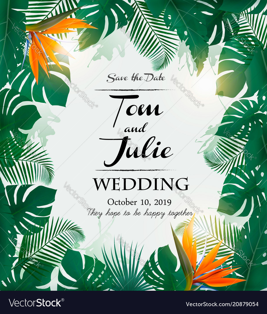 Wedding invitation desing with exotic leaves and