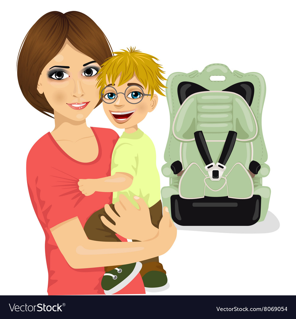 Young mother holding little boy near baby car seat vector image