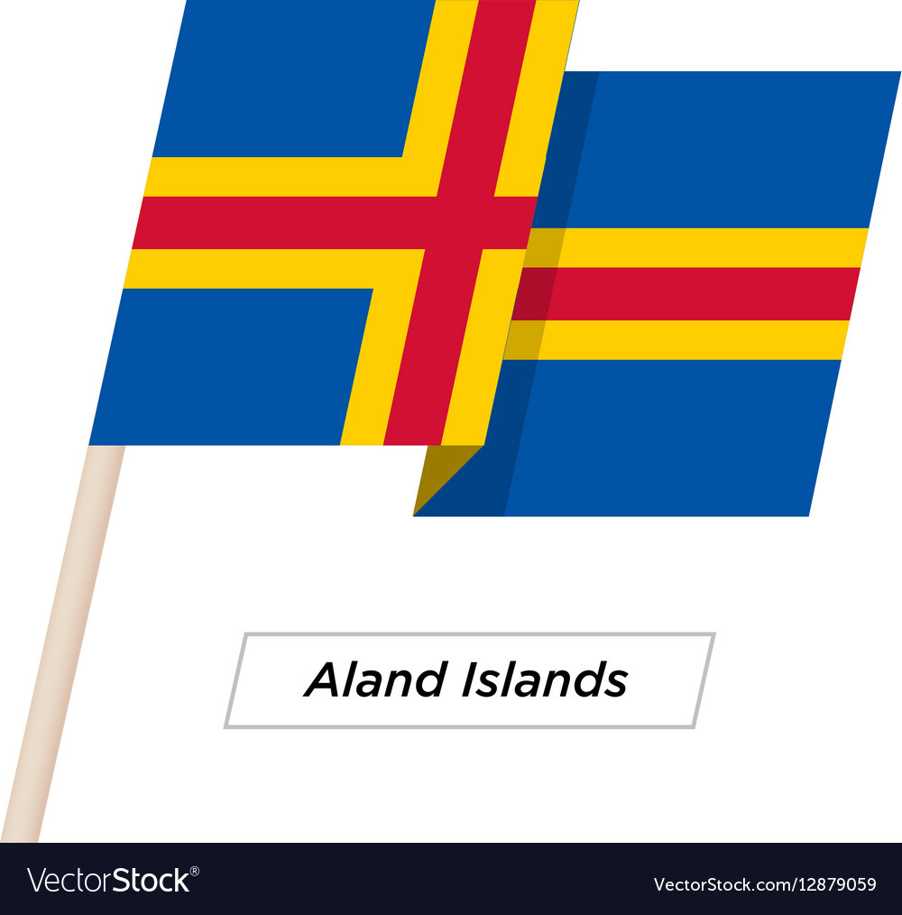 Aland Island Ribbon Waving Flag Isolated on White