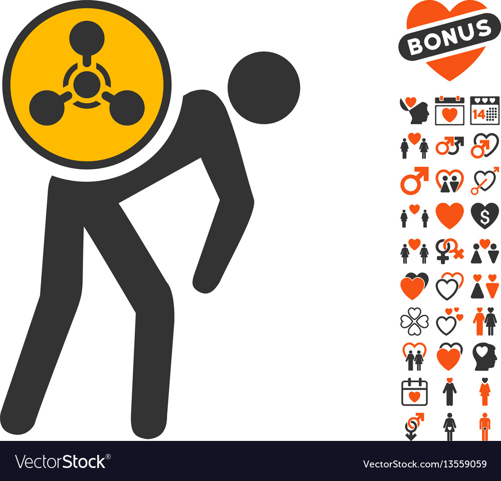 Chemical courier icon with dating bonus vector image